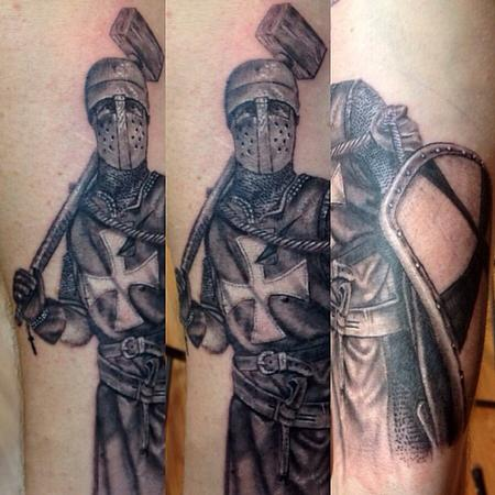 Tattoos - Black and grey knight done portrait done by cesar perez from Keene ,NH - 78655
