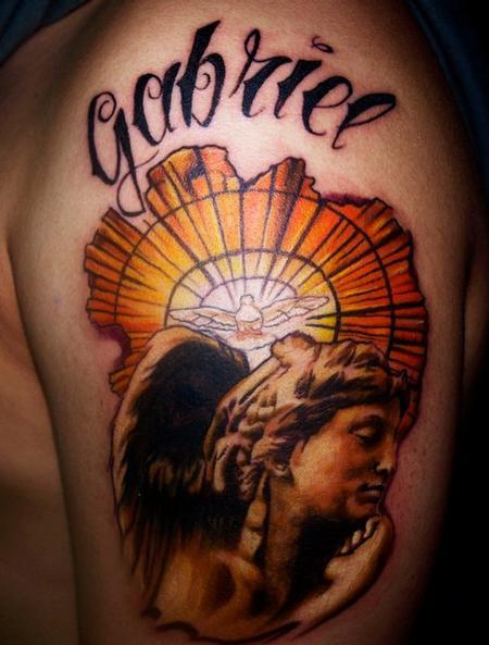 Tattoos - angel gabriel color tattoo portrait - 72539