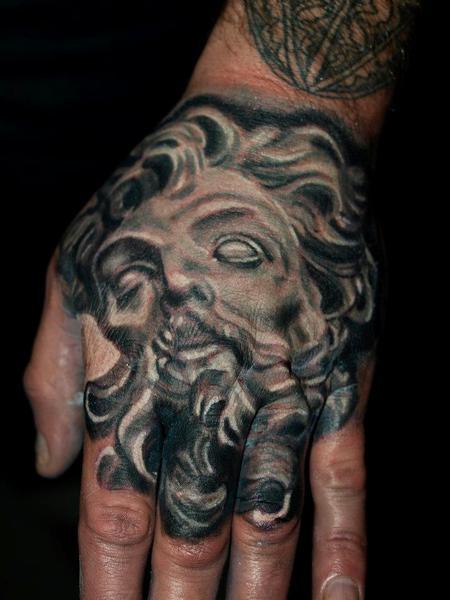 Tattoos - bernini / longinus black and grey hand tattoo - 72077