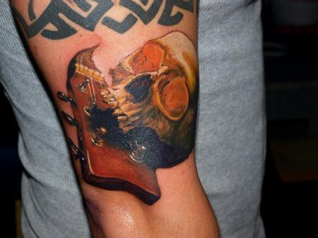 Tattoos - colr skull guitar tattoo - 72559