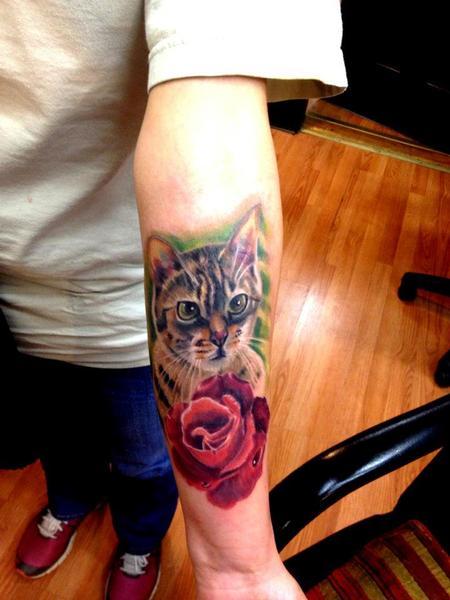 Tattoos - cat memorial color portrair tattoo - 72645