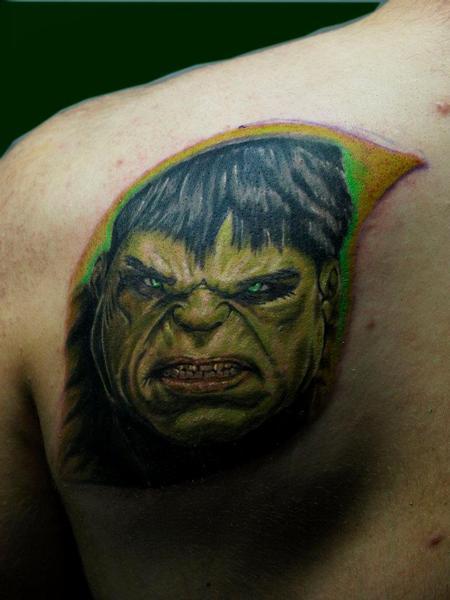 Tattoos -  unfinish hulk color portrait tattoo  - 72648