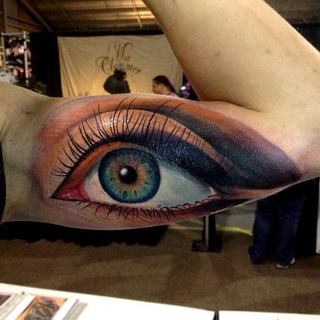 Tattoos - color realistic eye tattoo - 77317