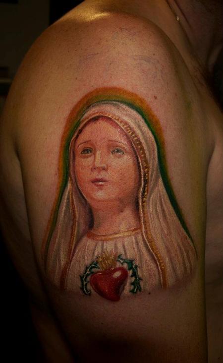 Tattoos - virgen Mary color tattoo - 72652