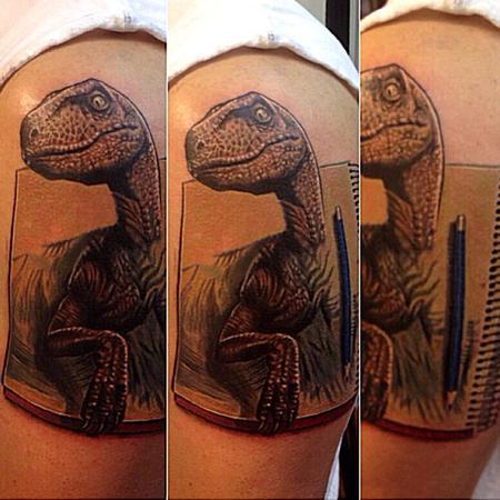 Tattoos - dinosaur velociraptor coming out of sketchbook - 74047