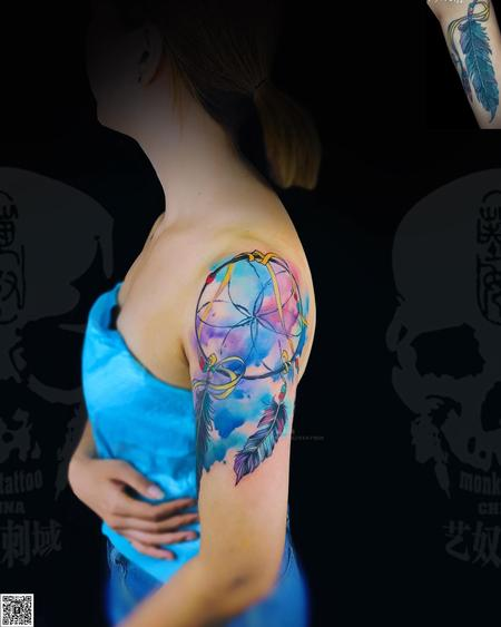 Tattoos - Blue Dreamcatcher watercolor dreamcatcher - 140179