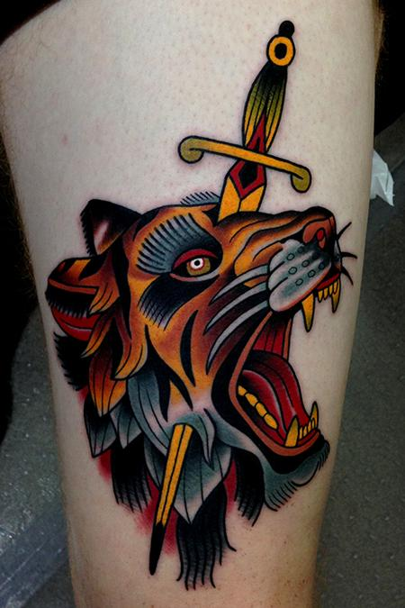 Tattoos - tiger dagger tattoo - 79689