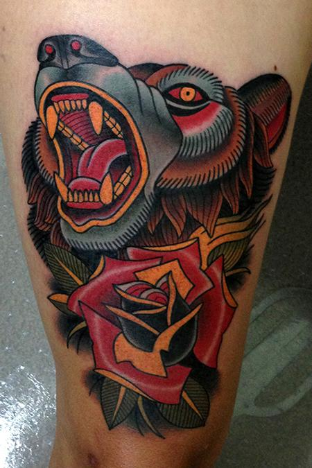 Tattoos - bear rose tattoo - 78014