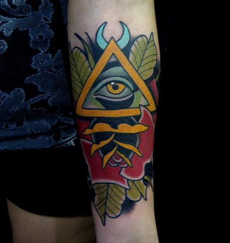 Jonathan Montalvo - all seeing eye & rose tattoo