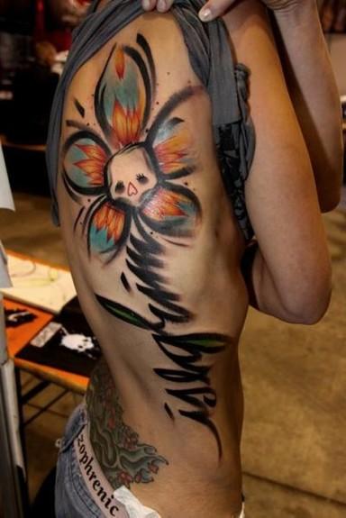 Mark Halbstark - Skull Flower Tattoo