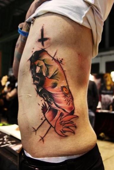 Mark Halbstark - Flamingo Hand Tattoo