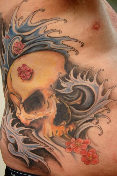 Heidi Ellis - Skull with water & cherry blossoms