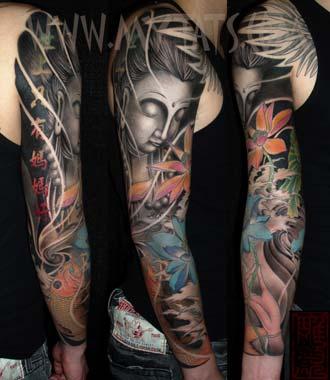Tattoos - Buddha and Koi - 29418