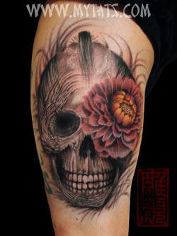 Tattoos - Peony in Skull - 29290