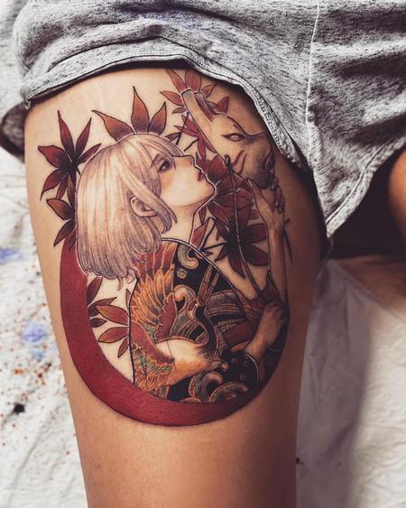 Tattoos - Korean girl with pig mask - 142973