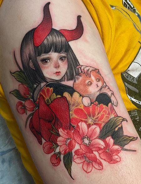 Tattoos - Devil-Girl with cat and flowers - 142956