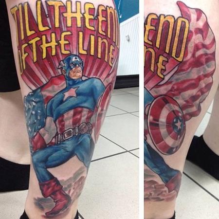Tattoos - Captain America with Script - 92079