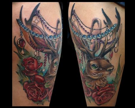 Tattoos - Jackalope Tattoo with Fancy beads - 92076