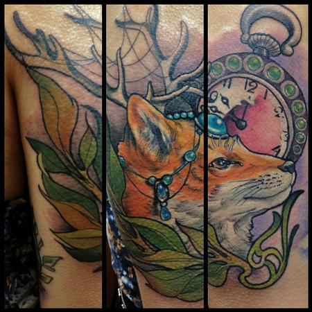 Tattoos - Art Nouveau Fox and Compass tattoo - 92066