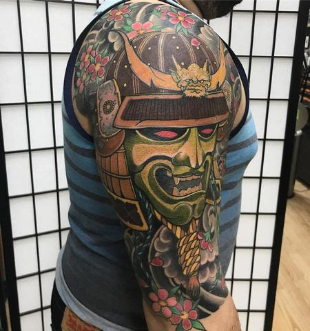 Samurai Japanese tattoo half sleeve tattoo Design Thumbnail