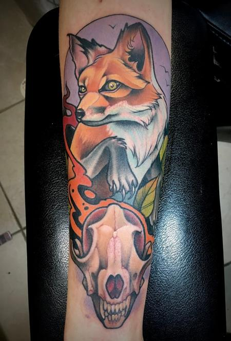 Tattoos - Fox and Skull in Flames Neotrad Half Sleeve - 141019