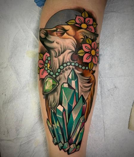 Tattoos - Fox Crystals and Flowers Tattoo - 141117