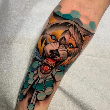 Matt Truiano - Geometric Wolf Tattoo