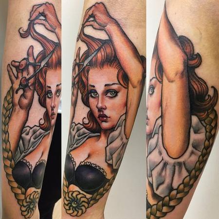 Tattoos - Hairdresser Pinup Tattoo - 141022