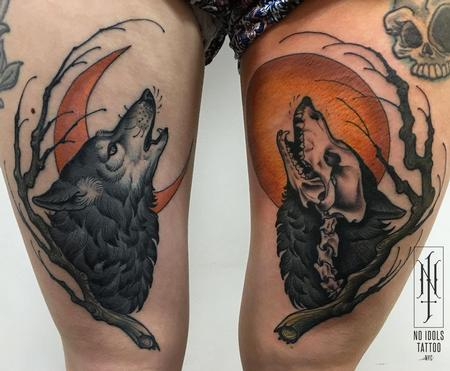 Tattoos - Howling wolf and moon tattoo - 141021