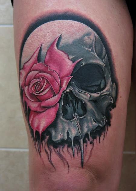 Tattoos - Skull and Rose Tattoo - 93310