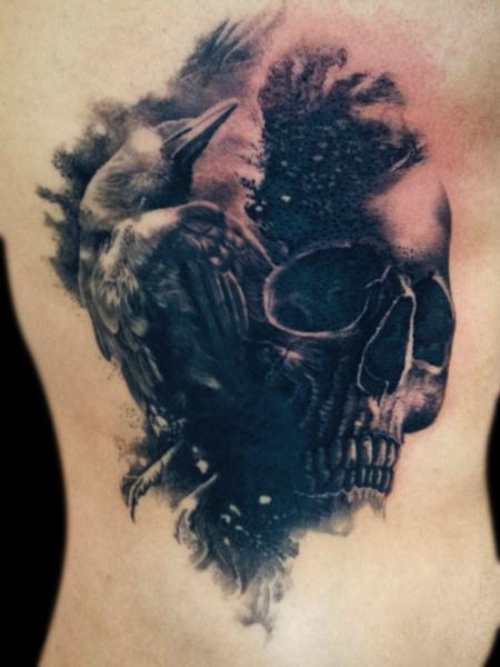 Tattoos - crow skull - 92157