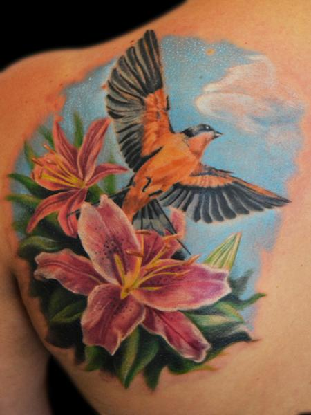 Tattoos - Flowers whit swallow - 91528