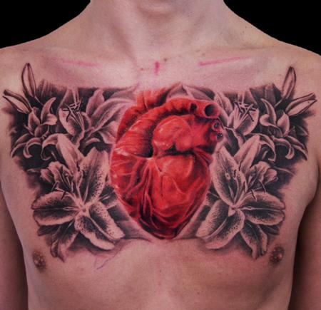 Tattoos - Heart with Flowers - 96179