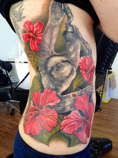 Tattoos - michele@offthemaptattoo.com, Sloth with ibiscus - 89254