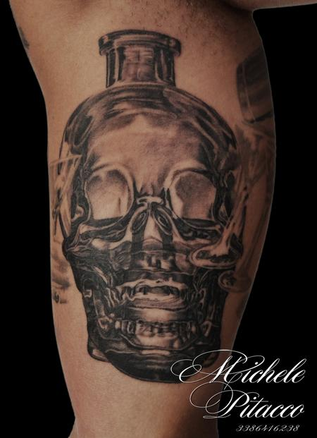 Tattoos - vodka bottle skull - 123133