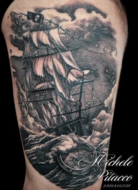 Tattoos - pirate ship - 119991