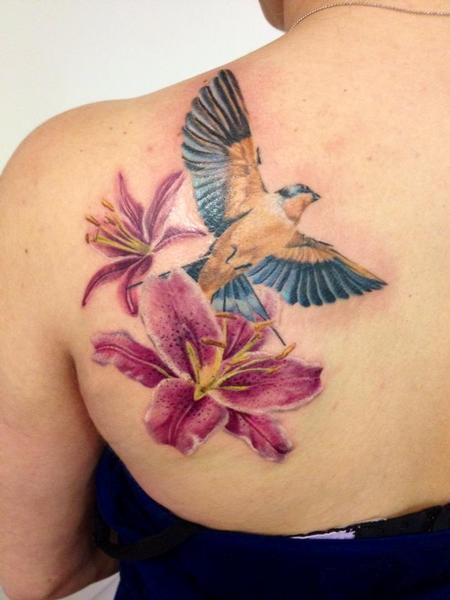 Tattoos - michele@offthemaptattoo.com, swallow on flowers, rondine sui lilium - 89335