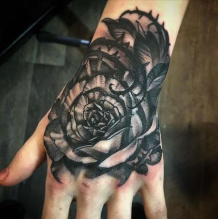 Tattoos - Al Perez Hand Rose - 138285
