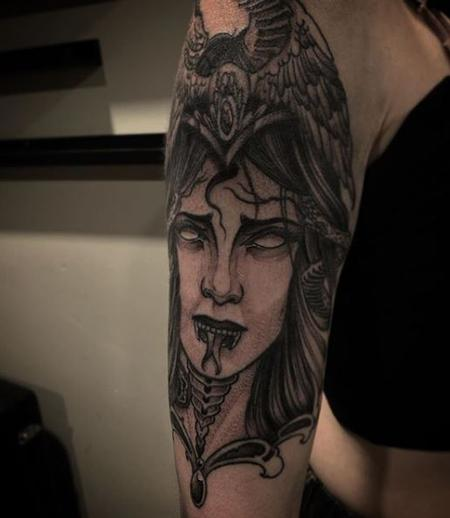 Tattoos - Billy Williams Black and Grey Neo Lady  - 140882