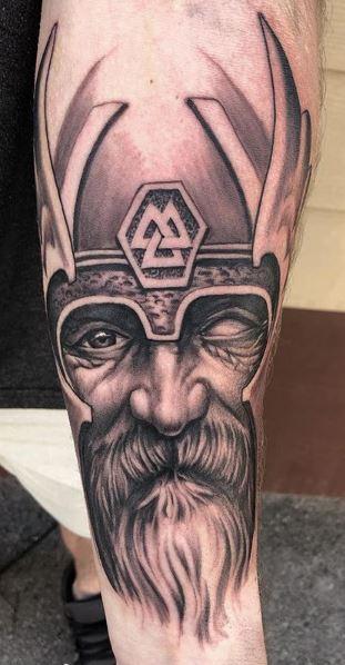 Oak Adams - Black and Gray Freehand Odin Tattoo