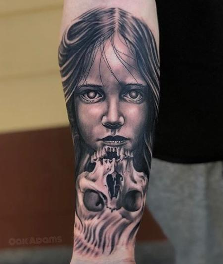 Tattoos - Black and Gray Skull Tattoo with Portrait - 136108