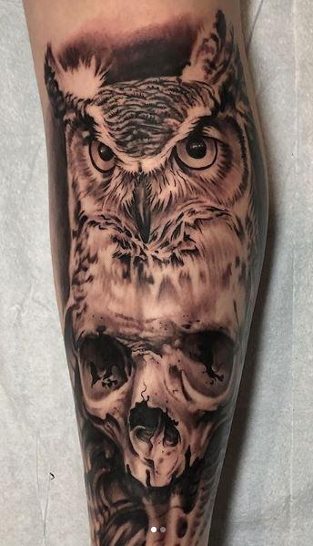 Tattoos - Black and Gray Skull and Owl Tattoo - 136109