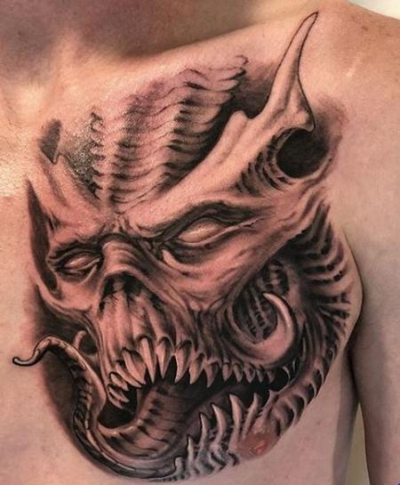 Tattoos - Black and Gray Monster  - 136112