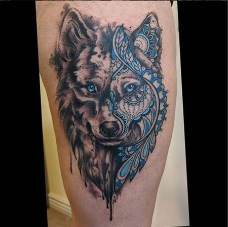 Tattoos - Bonnie Seeley Geometric Wolf - 140819