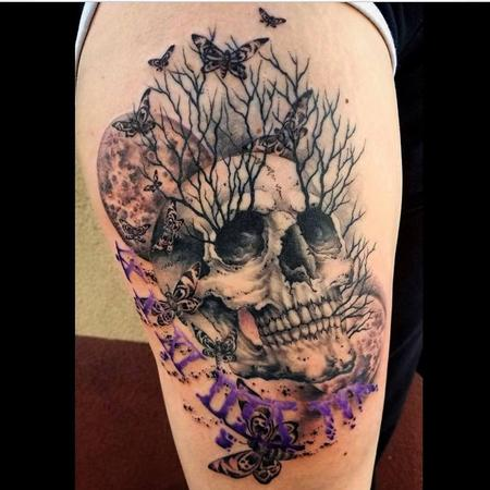 Tattoos - Bonnie Seeley Skull and Butterflies - 139316