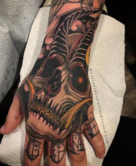 Austin Jones Horned Skull Tattoo