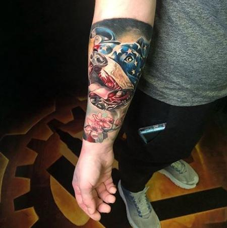 Tattoos - Chris Good American Flag Dog - 141524