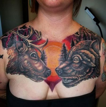 Tattoos - Cody Cook Deer and Bear Chest Piece - 141384