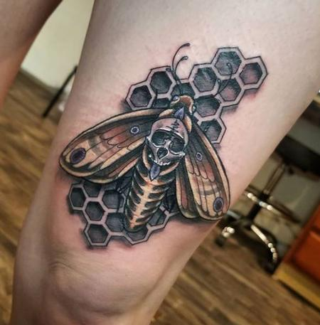 Tattoos - Cody Cook Honeycomb Moth - 138284