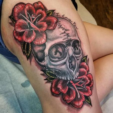 Tattoos - Cody Cook skull and roses
